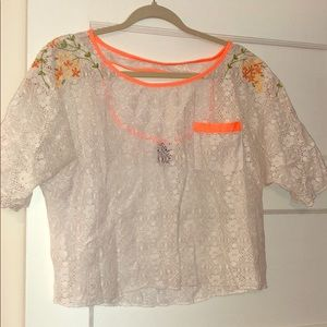 Beach free people lace embroidered top!